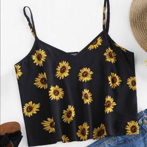 ZAFUL Sunflower Print Crop Camisole (NEW)